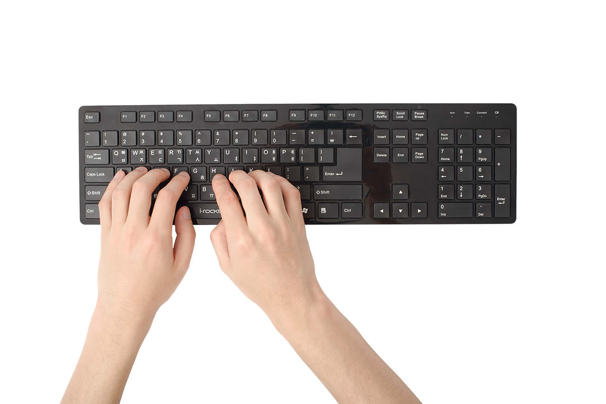 hands typing on computer keyboard isolated